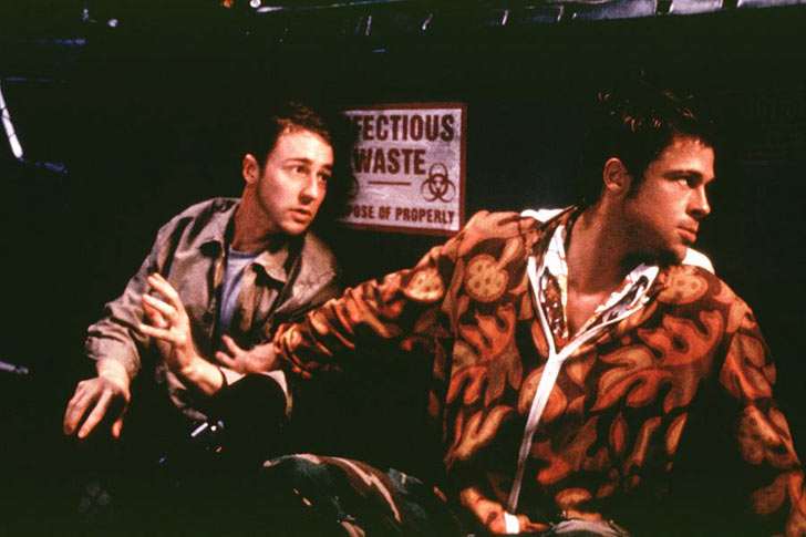 Edward Norton and Brad Pitt in <em>Fight Club</em>